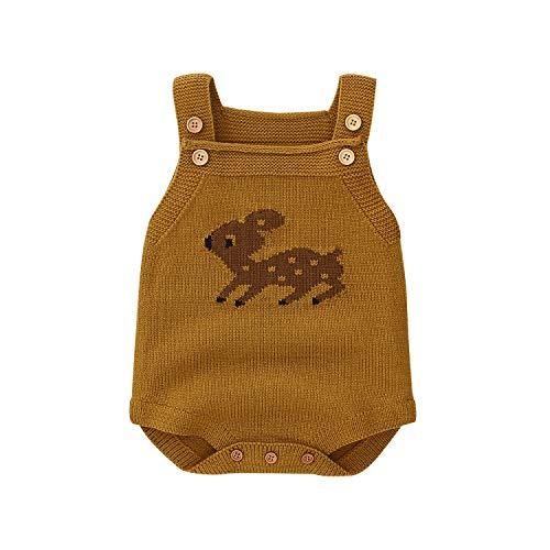 Ziyunlong Baby Boy Rompers Toddler Sleeveless Knit Baby Girl Jumpsuits Cartoon Cute Deer Overalls (Brown, 0-3M)