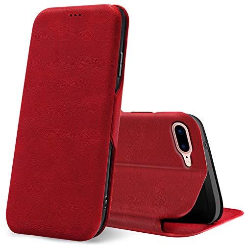 Verco Handyhülle für iPhone 8 Plus, iPhone 8 Plus Hülle Bookstyle Premium Handy Flip Cover für Apple iPhone 8 Plus / 7 Plus Hülle [5,5 Zoll] [integr. Magnet] Book Hülle PU Leder Tasche, Rot