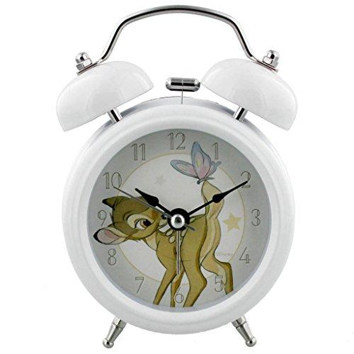 Disney Magical Beginnings - Reloj despertador de cuarzo, color blanco, diseño de Bambi