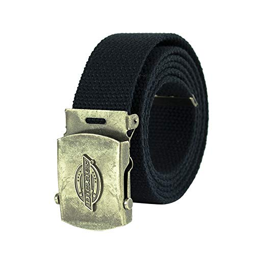 Dickies Men's Cotton Web Belt with Military Logo Buckle, Dark Navy, One Size