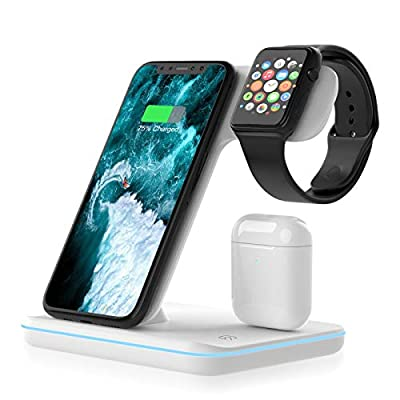 Wireless Charger, 3 in 1 Qi-Certified 15W Fast ...