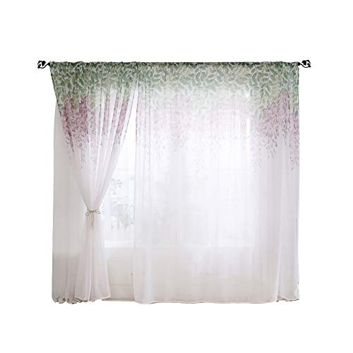 Wifehelper Curtain Polyester Elegant Breathable Durable Window Curtain Valances Voile Home Bedroom Living Room Office Necessary Decoration(3#)