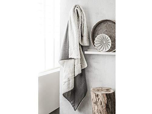 TODAY Kamy Plaid Réversible en Coton, Gris/Blanc
