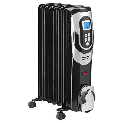 AEG RA 5587 - Radiador de aceite, 1500 W, 7 elementos, programable, pantalla digital, 3 niveles de potencia, regulador de potencia para un bajo consumo