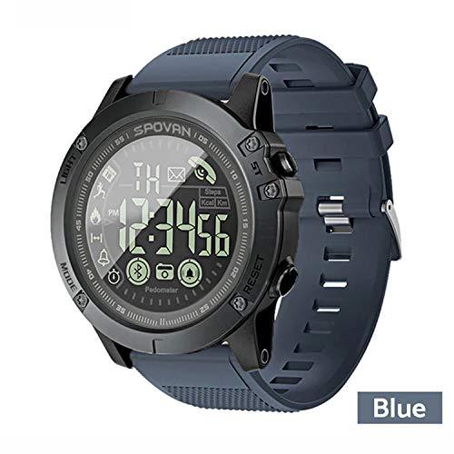 T1 Tact Military Grade Super Tough Smart Watch Outdoor Sports Talking Watch Mens Digital Sports Watch Waterproof Outdoor Pedometer Calorie Counter Multifunction Bluetooth Smart Watch (Blue)