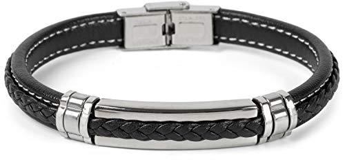 styleBREAKER unisex armband met vlecht en metalen elementen met flapsluiting, armband 05040173