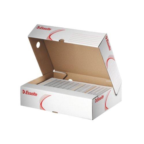 Esselte-Leitz 128005 Archivschachtel, 80mm, A4, Wellpappe, 10 Stück, Weiß
