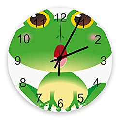 12 Inch Silent Round Wooden Wall Clock Cute Big Eyes Frog Wall Clock, Non Ticking Battery Operated Quartz Home Decor Wall Clocks for Living Room/Kitchen/Office