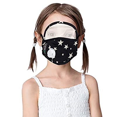 Luckylin Face Cotton with Breathing Valve with Eyes_Shield, Safty for Kids Outdoor Indoor, Cotton Dustproof Outdoor Face_Protective, Boys Girl Face_Bandanas, Reusable and Breathable
