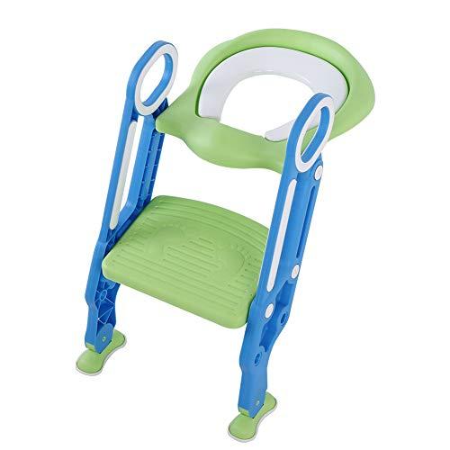 Baby Kleinkind Toilettenstuhl, Kinder Töpfchentrainer Toiletten-Trainer Kinder-Toilettensitz mit Leiter, Einstellbare Sicherheitstopf Trainingssitz (Hart, Blau + Grün)
