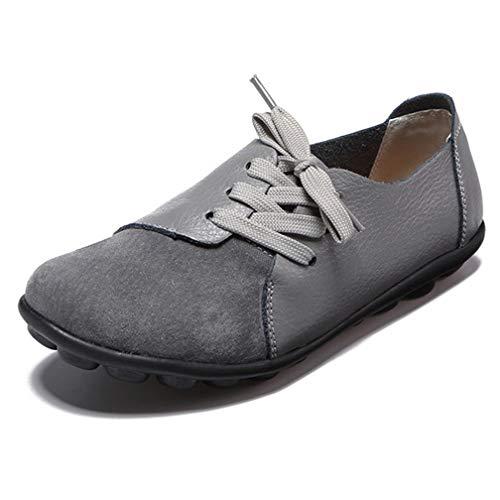 Hsyooes Damen Mokassin Bootsschuhe Leder Loafers Fahren Flache Schuhe Halbschuhe Slippers Erbsenschuhe, Grau 8, (Herstellergröße: 39)