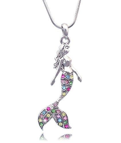 cocojewelry Mermaid Pendant Necklace Jewelry (Aqua)