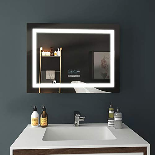 EMKE LED Badspiegel 80x60cm Beleuchtung Badezimmerspiegel Wandspiegel mit Bluetooth 4.1 Lautsprecher, Touch-Schalter, Beschlagfrei, Uhr