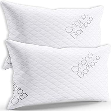 Luxury Pillow DIAMOND SERIES Set of 2 { Standard / Queen } Cooling Shredded Memory Foam | Adjustable Loft - Back Side or Stomach Sleeper | Washable Hypoallergenic Cool Sleeping Hotel Bed Pillows