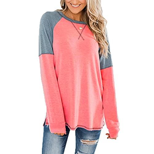 XYJD T-Shirt Maglione Pullover Camicetta Allentata Girocollo con Cuciture A Maniche Lunghe da Donna Primavera Ed Estate