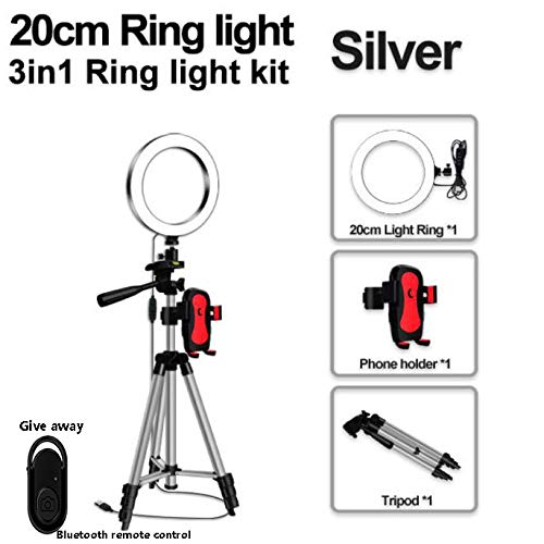 LED Ring Light, 8 in Selfie Ring Light Met Tripod En Telefoon Stand, Draadloze Afstandsbediening Voor Live Streaming/Make-Up/Youtube,Silver