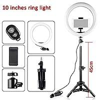 LED SelfieリングライトDimmable LEDリングランプ写真ビデオカメラ電話の着信ライトW/三脚のスタンドライブYouTube Fill Light (Color : C 10inch)