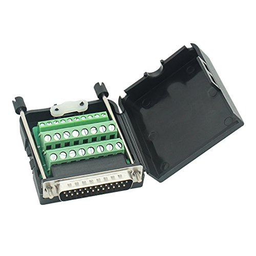 Connector DB25 D-SUB Male Adapter 25-pin Port Adapter to Terminal Connector Signal Module Db25 Breakout Board Solder-Free with case(Male Connector, DB25 with case)