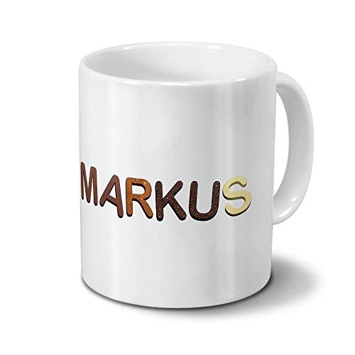 printplanet Tasse mit Namen Markus - Motiv Schokoladenbuchstaben - Namenstasse, Kaffeebecher, Mug, Becher, Kaffeetasse - Farbe Weiß