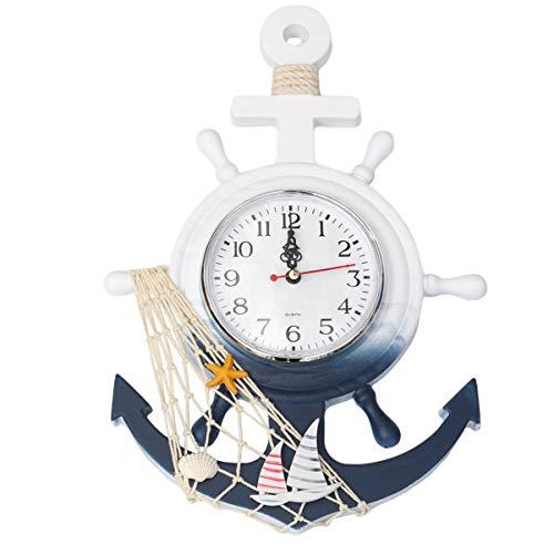 CLISPEED - Reloj de pared con diseño de ancla náutica, decoración de pared, decoración de barco, barco, volante, decoración de pared, velero, decoración de casa, playa, decoración de velero
