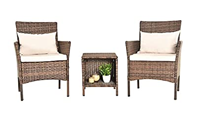 PCAFRS Patio Furniture Set 3 Piece, Patio Bistro Set 3 Piece,PE Rattan Wicker Chairs, Storage Table & Chairs Set, Washable Cushion and Pillow, Suitable for Garden Poolside Balcony (Brown)