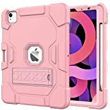 Grifobes Case for iPad Air 4 10.9 Inch 2020,Support Apple Pencil Charging with Pencil Holder,Slim Heavy Duty Shockproof Full Body Rugged Protective Case for iPad Air 4th Generation (Rose Gold)