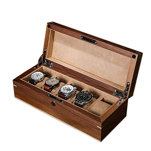 Uhrenbox Uhr-Kasten Retro Aus Echtholz-Uhr-Box Schmuck-Vitrine 5 Uhr Aufbewahrungsbox Geschenkbox for Männer Oder Frauen 5 Grids