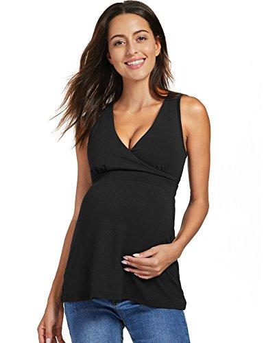 Gratlin Femme Top de Maternité d'allaitement Débardeur Col V Noir S