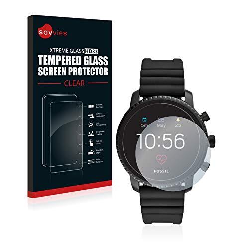 Savvies Panzerglas kompatibel mit Fossil Q Explorist HR (4.Gen) - Echt-Glas, 9H Festigkeit, Anti-Fingerprint