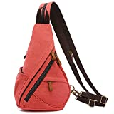 LOVEVOOK Sling Bag Canvas Crossbody Backpack Genuine Leather Shoulder Bag With Zippered Straps Casual Daypacks For Men Cycling Hiking Travel