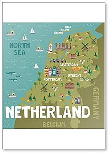 Imán para nevera, diseño de mapa de Países Bajos