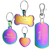 Black, silver, gold and blue, bright color choice It's engraved by laser machine,more durable and the Text will not fade or missing Up to 8 lines engrave area total in both side, you can leave pet name address info. Choose the suitable size you want ...