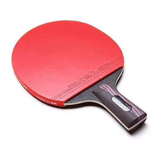 ZJH Raqueta de Tenis de Mesa de Fibra de Carbono, Madera de wenge de 5 Capas + Paleta de Ping Pong de Goma de Fibra de Carbono de 2 Capas,Shorthandle