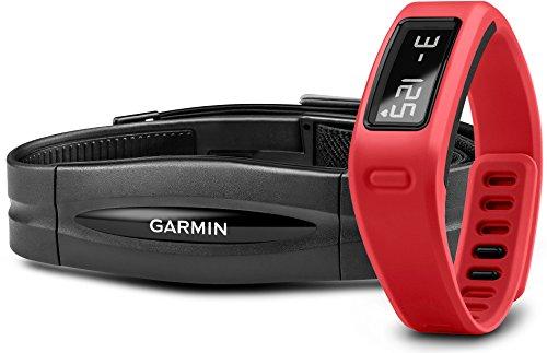 Garmin Vivofit - Bracelet d'activité connecté avec écran - jusqu'à 1 an d'autonomie - Ceinture cardio-fréquencemètre inclus - Rouge