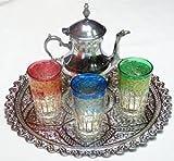 juego de te marroquí de 3 vasos de cristas tetera bandeja de 25 cm de diámetro