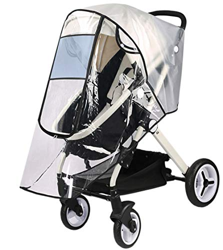 Ultimate Stroller Raincover Universal Weather Shield Pushchair Rain Cover Baby Travel Buggy Pram Raincover Stroller Accessory Large Carrycots Rain Shield with Window and Zipper Door