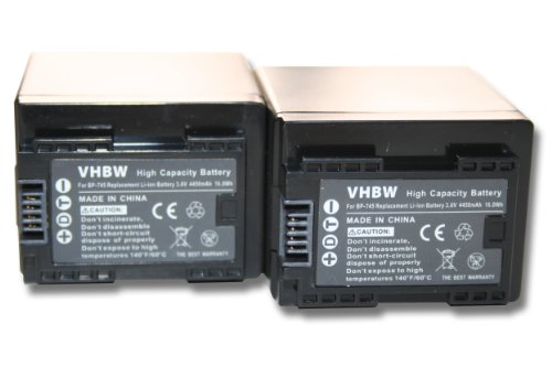 vhbw 2x Li-Ion batteria 4450mAh (3.6V) con infochip per videocamera camcorder Canon Legria HF R66, HF R68, HF R606 sostituisce BP-727, BP-745
