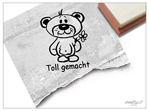 Stempel - Lehrerstempel Teddy Toll gemacht - Schulstempel zur Motivation der Schüler - Lob Belohnung Geschenk - zAcheR-fineT