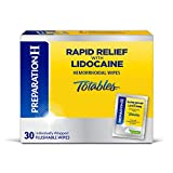 Preparation H Rapid Relief with Lidocaine Hemorrhoid Symptom Treatment Flushable Wipes, Numbing Relief for Pain, Burning and Itching, Reduces Swelling, Box, White, Unscented, 30 Count