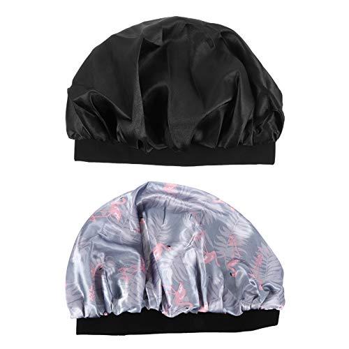 Lurrose 2 Peças de Touca de Dormir de Cetim Gorro Desleixado Chapéu de Dormir Chapéu de Dormir Touca de Dormir Lenço de Cabelo Lenço de Maternidade para Mulheres