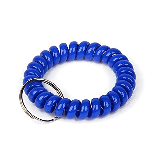 10 pulseras de plástico espiral de bobina de muñeca llavero cadena elástica espiral titular de la llave para la insignia de identificación al aire libre (color: 10 piezas de azul)