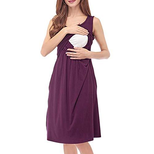 Aberimy Stillkeid Umstandskleid Still Kleid Schwangerschafts Kleid Still-Nachthemd Stillen Kleid Frauen Damen Kleid Sommer Damen Kleider Mit Ärmellos Weste Solide Baumwolle Mode Casual