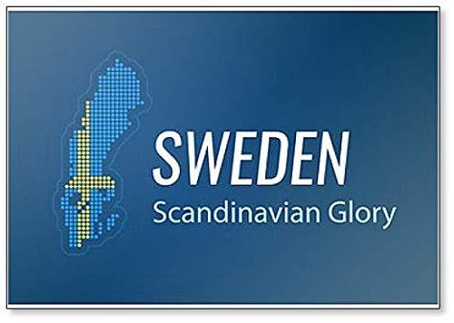 Kühlschrankmagnet, Motiv: schwedische Landkarte in Nationalflagge