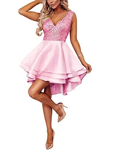 Minetom Damen Festlich Hochzeit Kleider Glänzend Pailletten V-Ausschnitt Ärmellos Prinzessin Tutu Cocktailkleid Partykleid Abendkleid Rosa DE...
