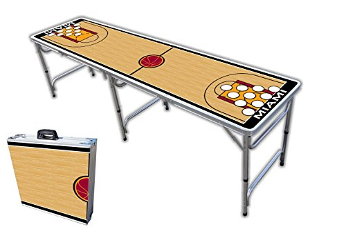Why Should You Buy 8-Foot Professional Beer Pong Table w/Holes - Miami Basketball Court Graphic