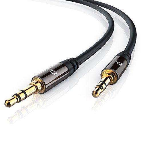 Primewire - 5m Cable Auxiliar de Audio 3.5mm Jack para entradas AUX - Conector metálico de precisión - 2x jack de 3,5 mm macho - Serie Premium HQ