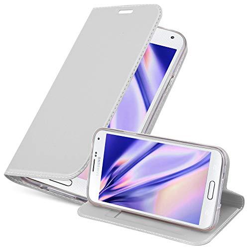 Cadorabo Funda Libro para Samsung Galaxy S5 / S5 Neo en Classy Plateado - Cubierta Proteccíon con Cierre Magnético, Tarjetero y Función de Suporte - Etui Case Cover Carcasa