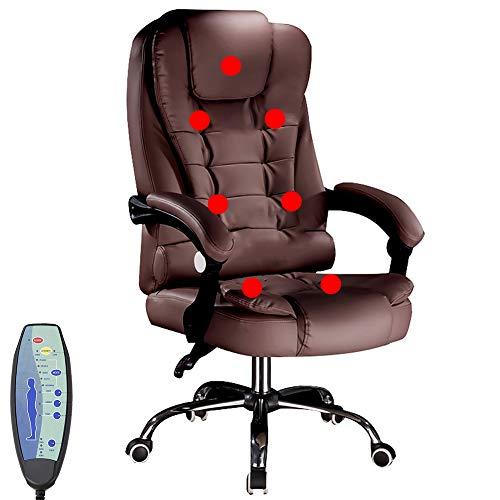 NCBH Massage-Bürostuhl, Ergonomischer Stuhl, Executive Chair, BüRostuhl Erfonomisch, PU-Ledersessel mit versenkbarer Fußstütze, höhenverstellbarer Gaming-Stuhl mit Lordosenstütze,Braun,A