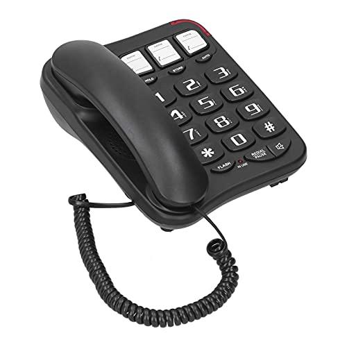 Teléfono Teléfono de Botones Grandes con contestador automático y Pantalla retroiluminada Soporte Manos Libres Flash Rellamada Tienda Teléfono de Escritorio para Oficina en casa Hoteles Teléfono fij