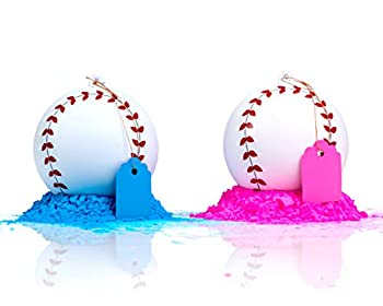 Gender Reveal Baseball 2 Pack | Pink & Blue Set | Exploding Powder Baseball | Gender Reveal Party Ideas | Ultimate Party Supplies